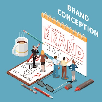 Brand building isometric concept with employees drawing on paper