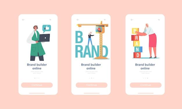 Встроенный экранный шаблон страницы мобильного приложения для создания бренда. деловые персонажи работают над краном, создают фирменный стиль, концепцию развития личности компании. мультфильм люди векторные иллюстрации