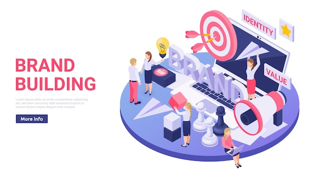 Brand building online services isometric illustration with megaphone target paper air plane web banner