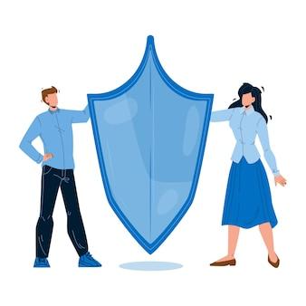 Создание бренда, товарный знак или вектор названия продукта. мужчины и женщины-дизайнеры, держащие защитный щит для создания творческого бренда. персонажи бизнесмен и бизнес-леди плоский мультфильм иллюстрации