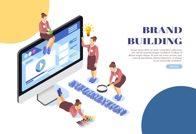 Brand building webpage isometric illustration composition with desktop monitor female team information search symbols