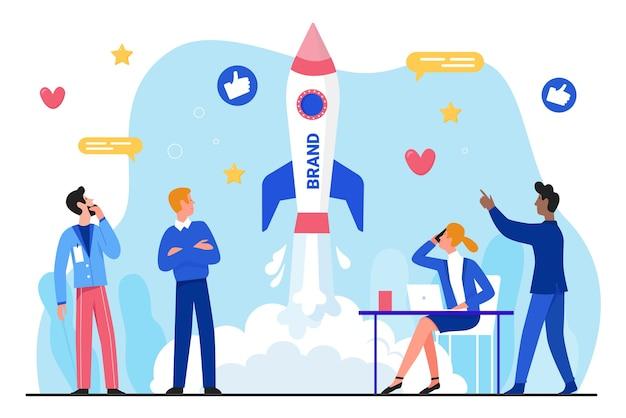 Плоская иллюстрация запуска бизнеса бренда