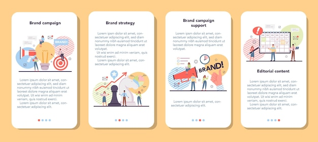 브랜드 캠페인 모바일 응용 프로그램 배너 세트