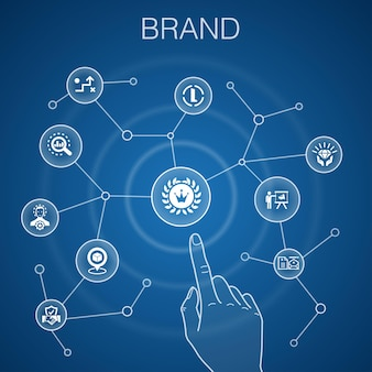 브랜드 개념, 파란색 배경입니다. 마케팅, 연구, 브랜드 관리자, 전략 아이콘