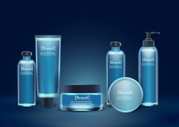 Brand cosmetic set plastic and glass bottles.