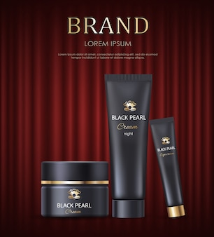 Brand cream and lotions in tube cosmetics