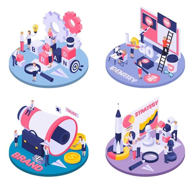 Идентичность бренда как концепция стратегии достижения целей круговые изометрические композиции