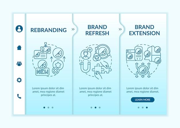 브랜드 아이덴티티 변경 온보딩 벡터 템플릿입니다. 아이콘이 있는 반응형 모바일 웹사이트입니다. 웹 페이지 연습 3단계 화면. 브랜드 새로고침, 선형 일러스트레이션으로 색상 개념 확장