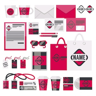 Brand identity items and acessory vector set