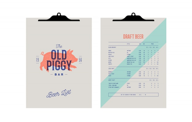 Brand identity set for beer bar, pub. clipboard menu