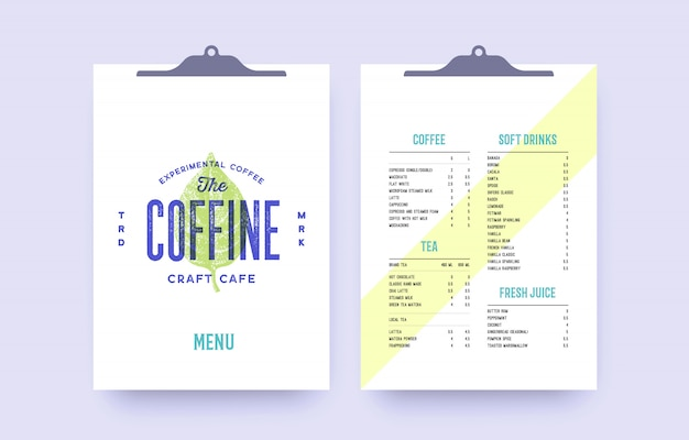 Brand identity set for cafe, restaurant bar, pub. old school vintage template menu, label, logo with cover and text list template. vintage clipboard menu for bar, cafe, restaurant.  illustration