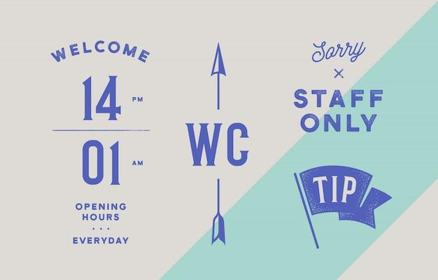 Набор фирменного стиля для пивного бара, паба. часы работы знака старой школы винтажные, туалет wc с стрелкой, знак только для персонала и флаг tip. старинный графический набор для бара, паба, ресторана или кафе. иллюстрация