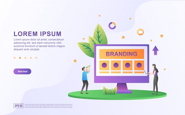 Brand illustration concept with people character