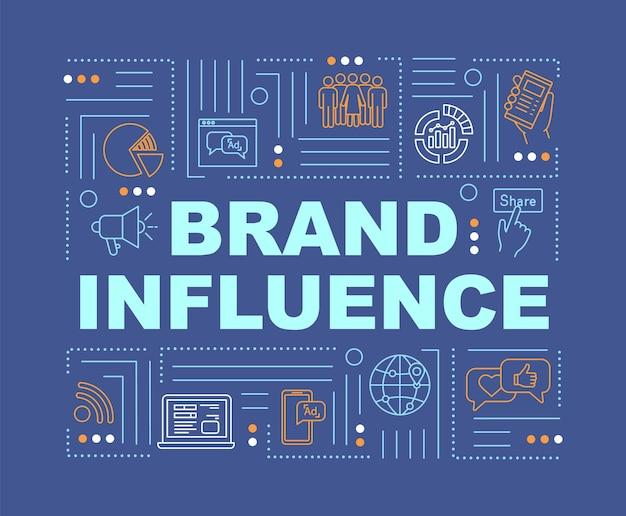 브랜드 영향력 및 신뢰성 단어 개념 배너입니다. 회사 홍보 방법. 파란색 배경에 선형 아이콘으로 인포 그래픽입니다. 격리 된 인쇄 술입니다. 벡터 개요 rgb 컬러 일러스트