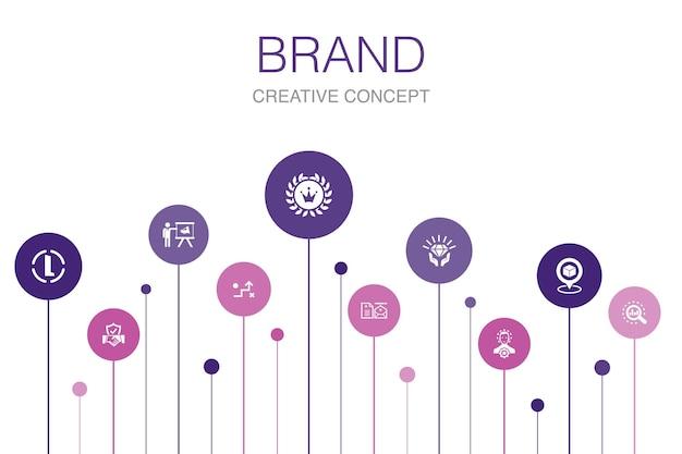 브랜드 인포그래픽 10단계 템플릿입니다. 마케팅, 연구, 브랜드 관리자, 전략 간단한 아이콘