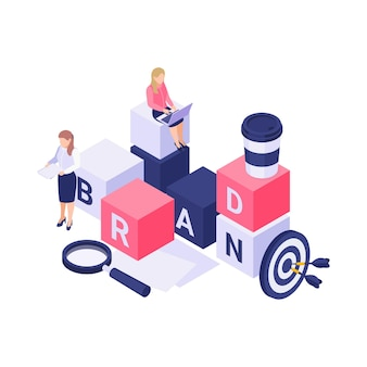 Brand isometric  with blocks magnifier target and people at work 3d  illustration