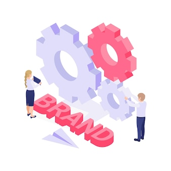 Brand isometric  with colorful cogwheels and people  illustration