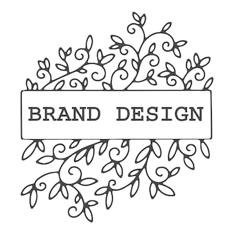 Brand logo or emblem, logotype or label for company. isolated minimalistic floral branches and decor. folder and frame for copy space, editable text. colorless floral design, vector in flat style