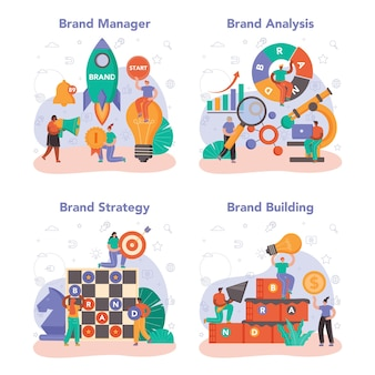 Brand management concept set. manager creating and developing