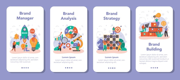 Brand management mobile application banner set. manager developing unique design of a company. brand recognition as a marketing strategy and promotion technology. isolated flat illustration
