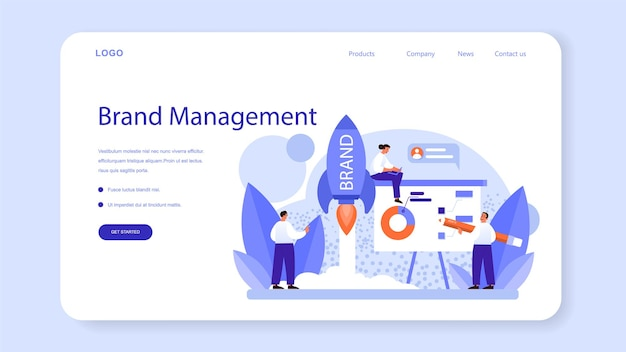 Brand management web banner or landing page. unique design of a company creation and development. brand recognition as a marketing strategy and promotion. isolated flat illustration