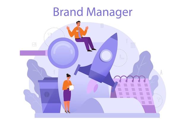 브랜드 매니저 개념. 마케팅 전문가는 회사의 독특한 디자인을 만듭니다. 비즈니스 전략의 일환으로 브랜드 인지도. 격리 된 평면 그림