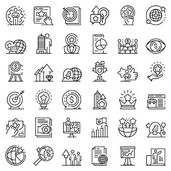 Brand manager icons set, outline style