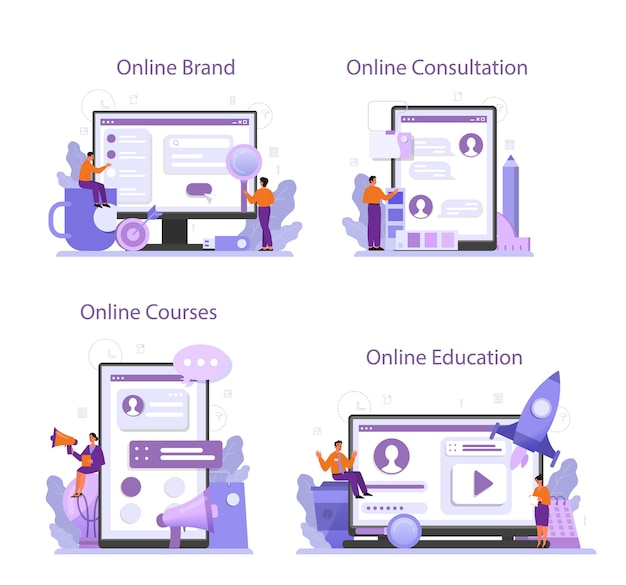 브랜드 관리자 온라인 서비스 또는 플랫폼 세트.
