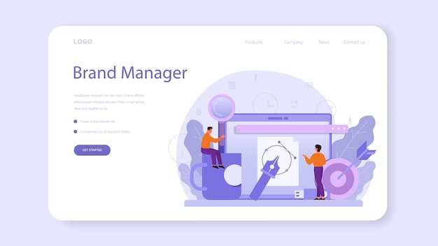 Brand manager web banner or landing page. Premium Vector