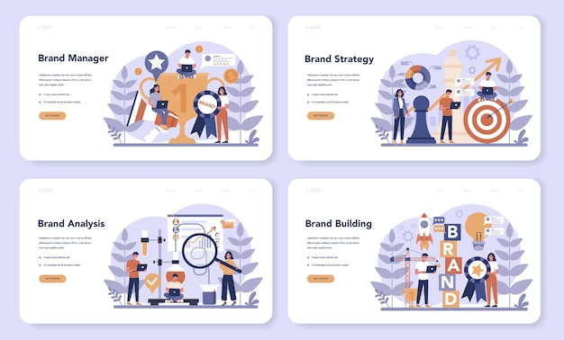 ブランドマネージャーのwebランディングページセット。マーケティングスペシャリストが会社のユニークなデザインを作成します。ビジネス戦略の一環としてのブランド認知。孤立したフラットイラスト