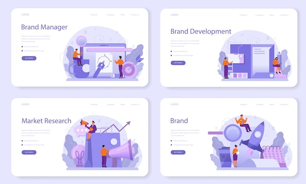 Brand manager web template or landing page set.
