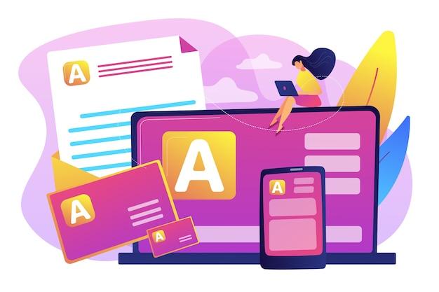 브랜드 마케팅, 기업 정체성, 로고 디자인. 기업 문학, 인쇄 문학 디자인, 브랜드 표현 전략 개념.
