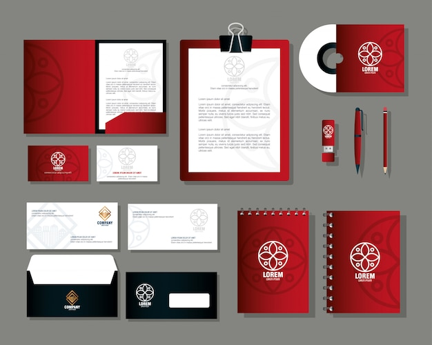 Фирменный стиль, макет, канцелярские товары, красный цвет со знаком белый