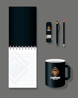 Фирменный стиль макета бренда, канцелярские принадлежности цвет черный с золотым знаком дизайн векторной иллюстрации