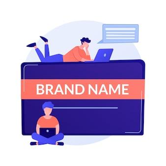 브랜드 이름 혁신. 마케터 팀, 기업 브랜딩, 디자이너 팀워크. 회사 정체성 만들기 및 개발 디자인 요소 개념 그림