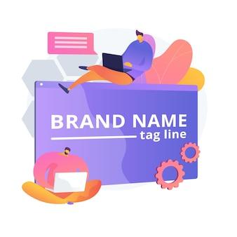 Брендовые инновации. команда маркетологов, корпоративный брендинг, совместная работа дизайнеров. элемент дизайна создания и развития фирменного стиля.