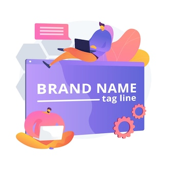 Brand name innovation. marketers team, corporate branding, designers teamwork. company identity creating and development design element.