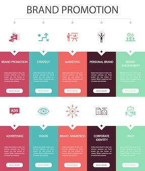 Продвижение бренда инфографика 10 вариантов дизайна пользовательского интерфейса. стратегия, маркетинг, личный бренд, реклама простые иконки