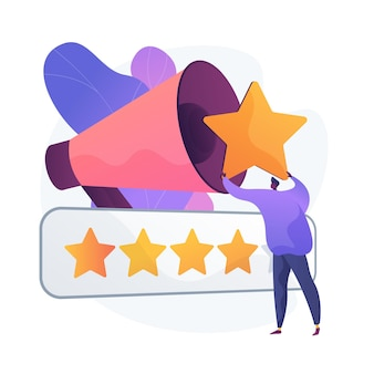 Brand rating measuring. product ranking, smm tool, user feedback analysis. digital marketing expert analysing customers satisfaction rates. vector isolated concept metaphor illustration