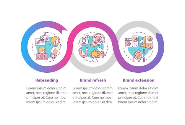 Бренд редизайн вектор инфографики шаблон. брендинг обновляет элементы дизайна схемы презентации. визуализация данных в 3 шага. информационная диаграмма временной шкалы процесса. макет рабочего процесса с иконками линий
