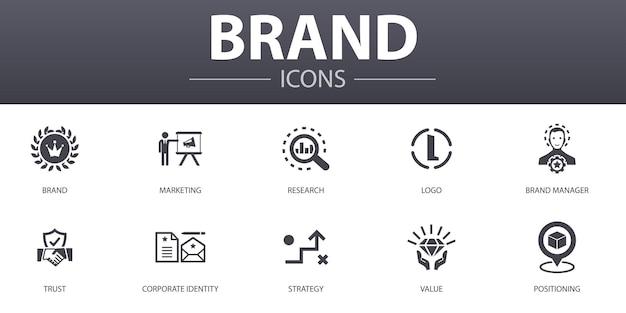 브랜드 간단한 개념 아이콘을 설정합니다. 마케팅, 연구, 브랜드 관리자, 전략 등과 같은 아이콘이 포함되어 있으며 웹, 로고, ui/ux에 사용할 수 있습니다.
