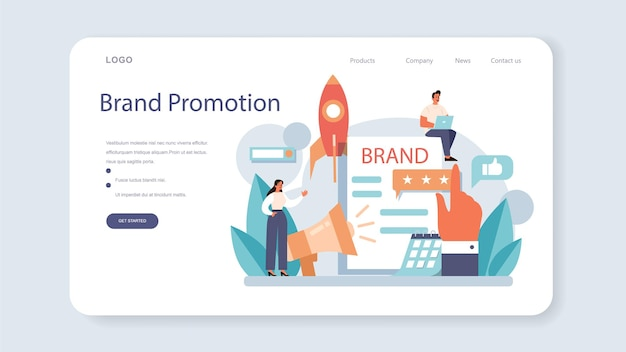Brand support web banner or landing page. unique design of a company or product development and promotion. brand recognition and identity building. isolated flat vector illustration