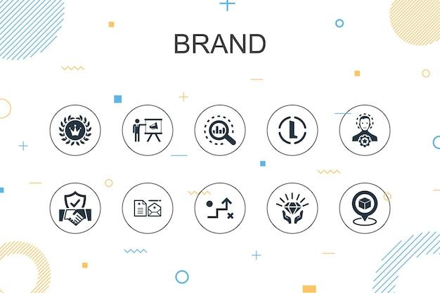 브랜드 유행 인포 그래픽 템플릿입니다. 마케팅, 연구, 브랜드 관리자, 전략 아이콘이 있는 얇은 선 디자인