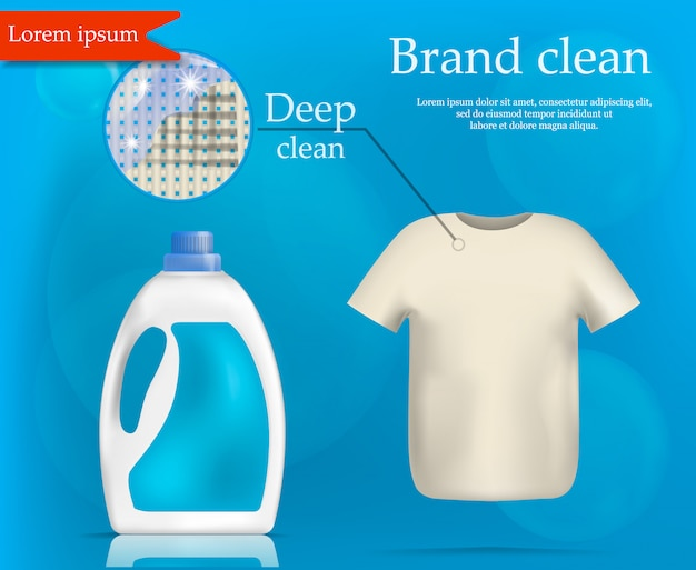 Brand wash clean concept , realistic style