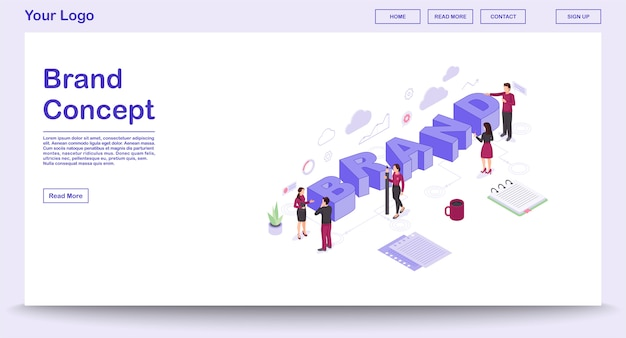Brand webpage vector template with isometric illustration, landing page