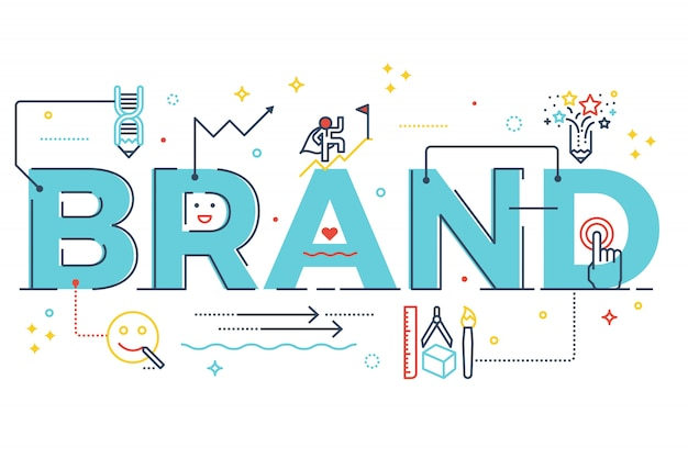 Brand word lettering typography design illustration with line icons