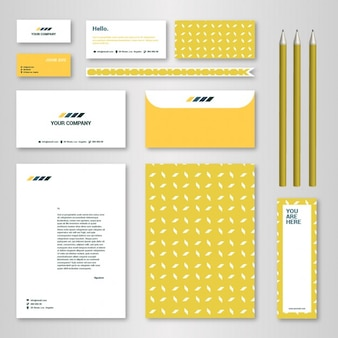 Brandbookおよびガイドラインのための黄色のパターンのコーポレートアイデンティティテンプレート