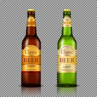 Branded bottles of beer realistic