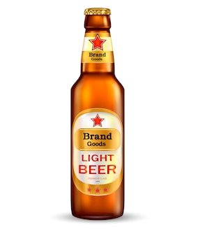 Branded with label brown bottle of premium light beer