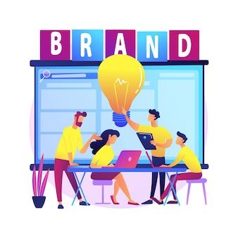 Illustrazione di concetto astratto di officina di marca. presentazione del marchio, workshop organizzato per marchio, evento promozionale di marketing, posizionamento del prodotto, dimostrazione di qualità